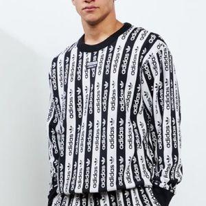 Adidas Logo D Crew Neck Sweatshirt Black White